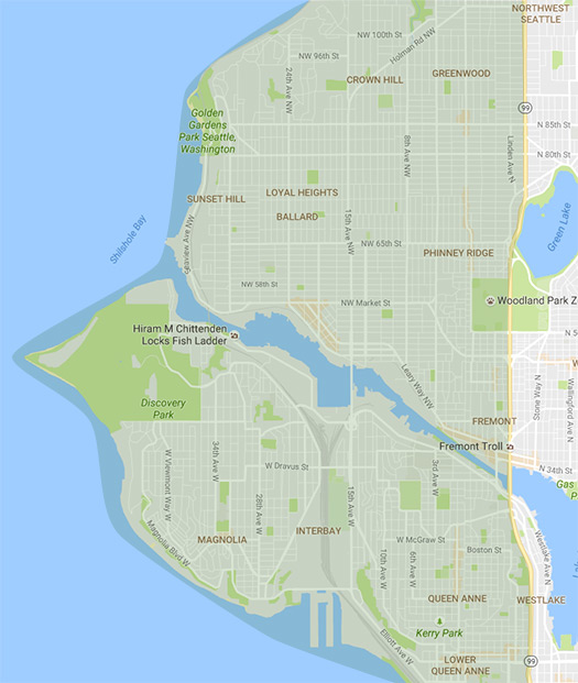 map of NW Seattle